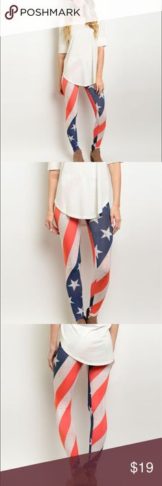 "JUST IN American Flag Leggings Lovely American Flag Leggings. Made In: USA Fabric Content: 95% POLYESTER 5% SPANDEX Available Size: S-M-L Measurements : L: 36"" W: 28"" (SMALL FITS 2-4) (MEDIUM FITS 6-8) (LARGE FITS 10-12) Pants Leggings"