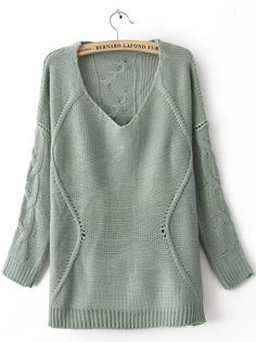 Blue Round Neck Long Sleeve Asymmetrical Sweater    This sweater just makes me want to curl up with a good book/movie and a cup of tea.