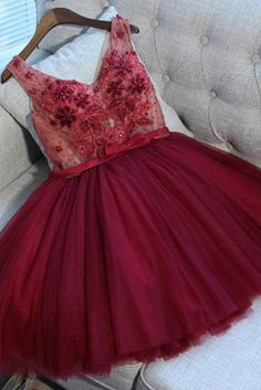 Cute A-Line V Neck Lace Up Short Burgundy Tulle Homecoming Dress with Appliques Homecoming Dresses A-Line, Cute Homecoming Dresses, Burgundy Homecoming Dresses, Sleeveless Homecoming Dresses, Homecoming Dresses Homecoming Dresses 2019 Burgundy Homecoming Dresses, V Neck Prom Dresses, Dresses Short, Sweet 16 Dresses, Dresses With Sleeves, Dress Prom, Dance Dresses, Party Dress, Bridesmaid Dresses