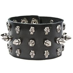 Black Faux Leather Metal Spikes Punk Rock Bracelet Steampunk Goth Dark Unisex