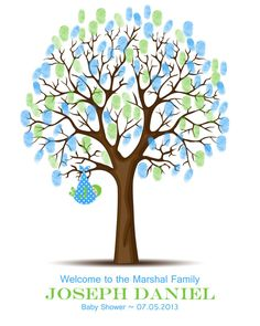 Baby Shower Thumbprint Tree Guest Book by TheFreckledOwlPrints, $28.00