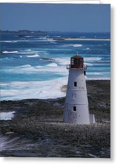 Nassau Harbor Lighthouse Greeting Card by Warren Thompson