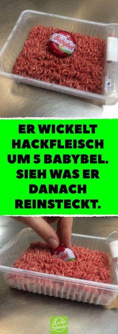Er wickelt Hackfleisch um 5 Babybel. Sieh was er danach reinsteckt. #rezept #leckerschmecker #blumenkohl #hackfleisch #babybel