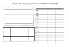 Common Core State Standard: (CC.2.MD.10) I can draw a pictograph and bar graph and solve different problems using data in the groups.  This template is great to allow students to create their own survey question,