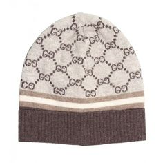 Gucci Beige   Coffe Wool   Cashmere GG Pattern Hat ( 190) ❤ liked on Polyvore  featuring accessories 206eadb222fb