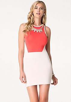 Bebe Necklace Trim 2-Tone Dress_ daytime bodycon dress. Love the coral with white and the geometric color block