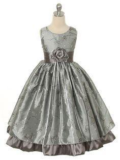 Silver Fancy Embroidery Taffeta Flower Girl Dress (Sizes 2-12)