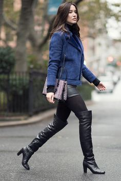 Melissa Bolono street style in the streets of Manhattan OTK boots leather skirt
