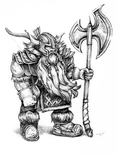 Dungeons and Dragons - Dwarf pencil drawing