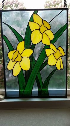 Coloured Glass Flowers Inspirational Daffodils Stained Glass Art