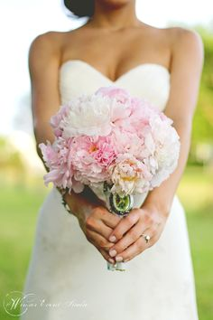 Bridal bouquet of all pink peonies