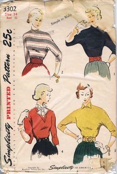 Simplicity Blouse Pattern 3302 Vintage 1940 Mad Men SALE Mid Century Sewing Patterns Supplies Sew DIY. $15.00, via Etsy. Wool jersey blouse!