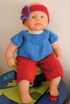 So here's my pattern for a doll's set - I've knitted it up as a smock top with bell sleeves, with capri pants and a headband, but the smock ...