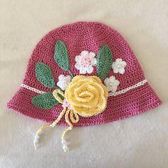 Pink Crochet Hat Little Girls Hat Easter Bonnet by AZenCreation