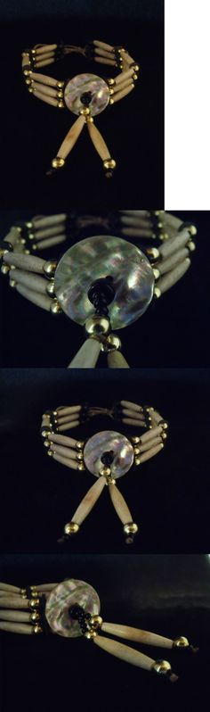 Necklaces and Pendants 98498: Three Row Bone Choker With Abalone Disk - Sioux Handmade -> BUY IT NOW ONLY: $50 on eBay!