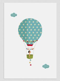 Illustration Five weeks in a balloon Girl by Tutticonfetti on Etsy, $20.00