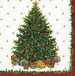 Caspari Christmas Tree Ivory 3-Ply Cocktail Napkins 11390C   Designer Print Napkins   Christmas Napkins