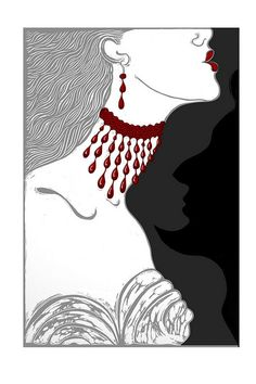 Illustration for Angela Carter's story 'The bloody chamber' by Elizabeth Moriarty.