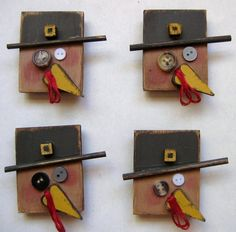 Primitive Tom Turkey Magnets by barbsheartstrokes on Etsy, $8.00