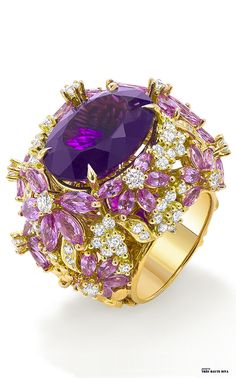 Ring with pink sapphires, purple amethyst and diamonds from Ganjam's new Le Jardin collection