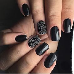Cute and Chic Winter Nail Designs 35 Black Acrylic Nails, Black Nails, Black Glitter, Fancy Nails, Pretty Nails, Hair And Nails, My Nails, Punk Nails, Winter Nail Designs