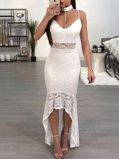 93bf5684b32 Sexy Halter Strap Lace Fishtail Asymmetrical Floor Dress