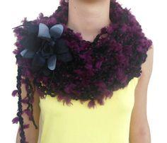 Arm Knit Scarf  Chunky Cowl Scarf  Crochet Loop Scarf  Neck Warmer  Hand Knit Scarf  Super Soft Scarf  Purple Cowl Womens Gift
