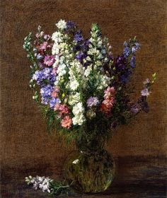 Larkspur still life painting by Henri Fantin-Latour Henri Fantin Latour, Floral Artwork, European Paintings, Museum Of Fine Arts, French Artists, Art Day, Trees To Plant, Floral Watercolor, A4 Poster