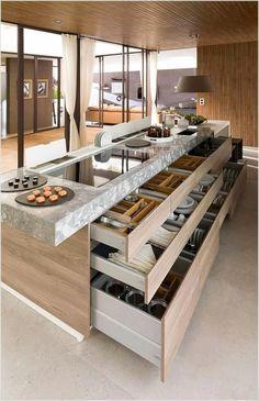 Kitchen Island Decor, Kitchen Island With Seating, Kitchen Room Design, Home Decor Kitchen, Interior Design Kitchen, Kitchen Furniture, Home Kitchens, Kitchen Ideas, Kitchen Island Storage