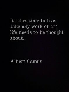 "It takes time to live. Like any work of art, life needs to be thought about.""   -  Albert Camus."