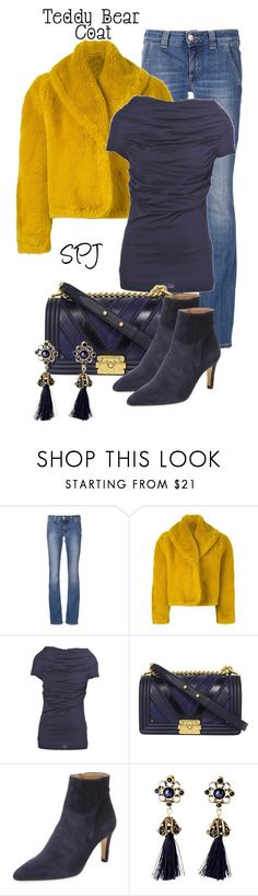 """Yellow Teddy Bear Coat"" by s-p-j ❤ liked on Polyvore featuring Dondup, Jean-Paul Gaultier, Farhi by Nicole Farhi, Chanel and Ava & Aiden"