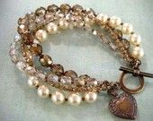 cream pearls with bronze czech beads twisted bracelet.love the color combination Wire Jewelry, Jewelry Crafts, Beaded Jewelry, Jewelry Bracelets, Handmade Jewelry, Jewelry Ideas, Jewellery, Bangles, Handmade Beads