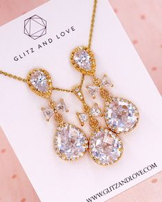 Gold Luxe Cubic Zirconia Earrings, Bridal jewelry set, tie the know, bow earrings, Bridesmaid bridal shower gifts, gifts for her, wedding earrings, pearl earrings, www.glitzandlove.com