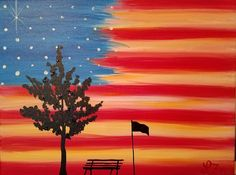 An American Sunset Drawing Sunset, Rock Painting, Canvases, Acrylics, Painted Rocks, Sunsets, 4th Of July, Sassy, Paintings