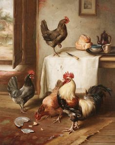 Chickens in a Kitchen by Edgar Hunt | Art Posters