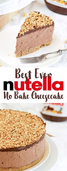 How to make the best ever NO BAKE NUTELLA CHEESECAKE! (With VIDEO tutorial!) This delicious cheesecake is the ultimate in Nutella, chocolate and hazelnut indulgence. This no bake dessert is quick and (Icecream Recipes Cheesecake) No Bake Nutella Cheesecake, How To Make Cheesecake, Cheesecake Cake, Simple Cheesecake Recipe, Nutella Cake, No Bale Cheesecake, Nutella Recipes No Bake, Nutella Deserts, Nutella Snacks