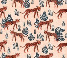 Safari Tiger - Blush/Coral/Parisian Blue by Andrea Lauren fabric by andrea_lauren on Spoonflower - custom fabric
