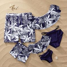 Mom And Daughter Swimsuits Ruffle Mommy And Me Clothes Set Leaf Print Family Look Mother Daughter Bikini Father Son Bathing Suit Mommy And Me Outfits, Kids Outfits, Cute Outfits, Outfit Sets, My Outfit, Ruffle Swimsuit, Girls Bathing Suits, Cute Swimsuits, Matching Family Outfits