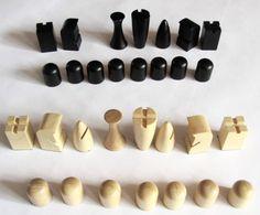 Modernist wooden chess set
