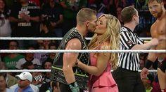 Natalya give Tyson a kiss before his match against Curtis Axel Curtis Axel, Hitman Hart, Theodore James, Wwe Total Divas, Wwe Stuff, Nikki Bella, Roman, Foundation, Kiss