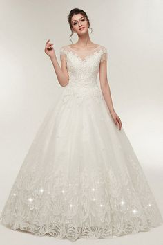 a00ebaf4ff In Stock Junoesque Tulle Scoop Neckline A-line Wedding Dress With Lace  Appliques & Beadings
