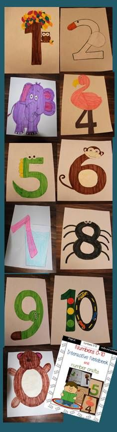 This fun number interactive notebook and crafts pack is a great way to learn and review numbers 0-10 with fun print, color, cut, and glue number crafts and worksheets for your students to complete!