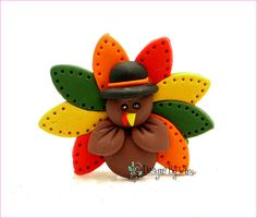 Colorful Fall Turkey Thanksgiving Bow Center by DesignsByWho, $6.50
