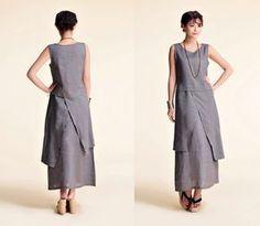 Flores de ciruela / Asia - estilo vestido largo de lino con su falda en dos capas / colores 21 / Ramis