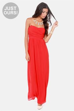LULUS Exclusive Slow Dance Strapless Red Maxi Dress at Lulus.com