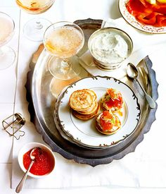 Australian Gourmet Traveller recipe for blini with smoked trout, herbed crème fraîche and fennel salad. Fennel Recipes, Tea Recipes, Gourmet Recipes, Snack Recipes, Snacks, Pancake Recipes, Savoury Recipes, Breakfast And Brunch, Breakfast Photo
