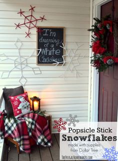 Popsicle Stick Snowflakes created from Dollar Tree supplies!  #ValueSeekersClub