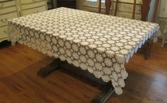 Vintage Tablecloth White Crochet , Handmade , Almost Perfect , Repurpose , Vintage Wedding