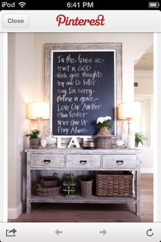Love this table and framed chalk board. Not sure where to put it though..