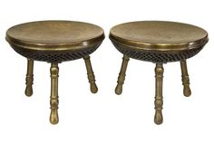 Etched Brass Foot Warmer Stools, Pair